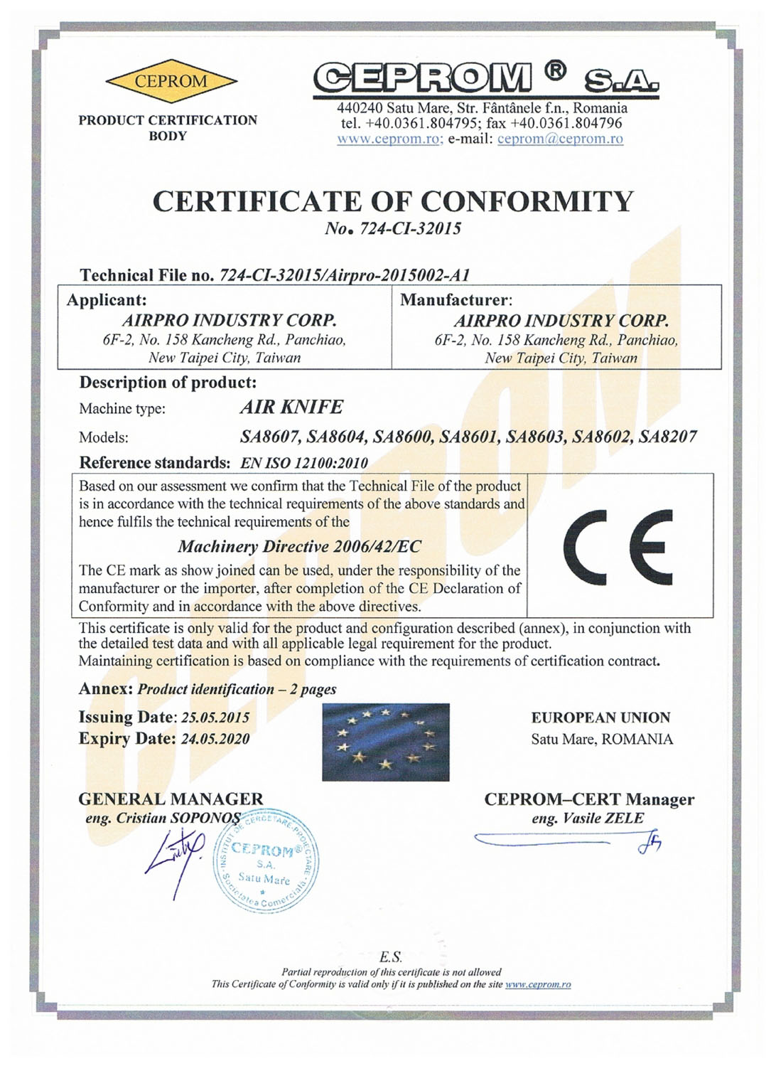 CERTIFICATE OF CONFORMITY-AIR KNIFE