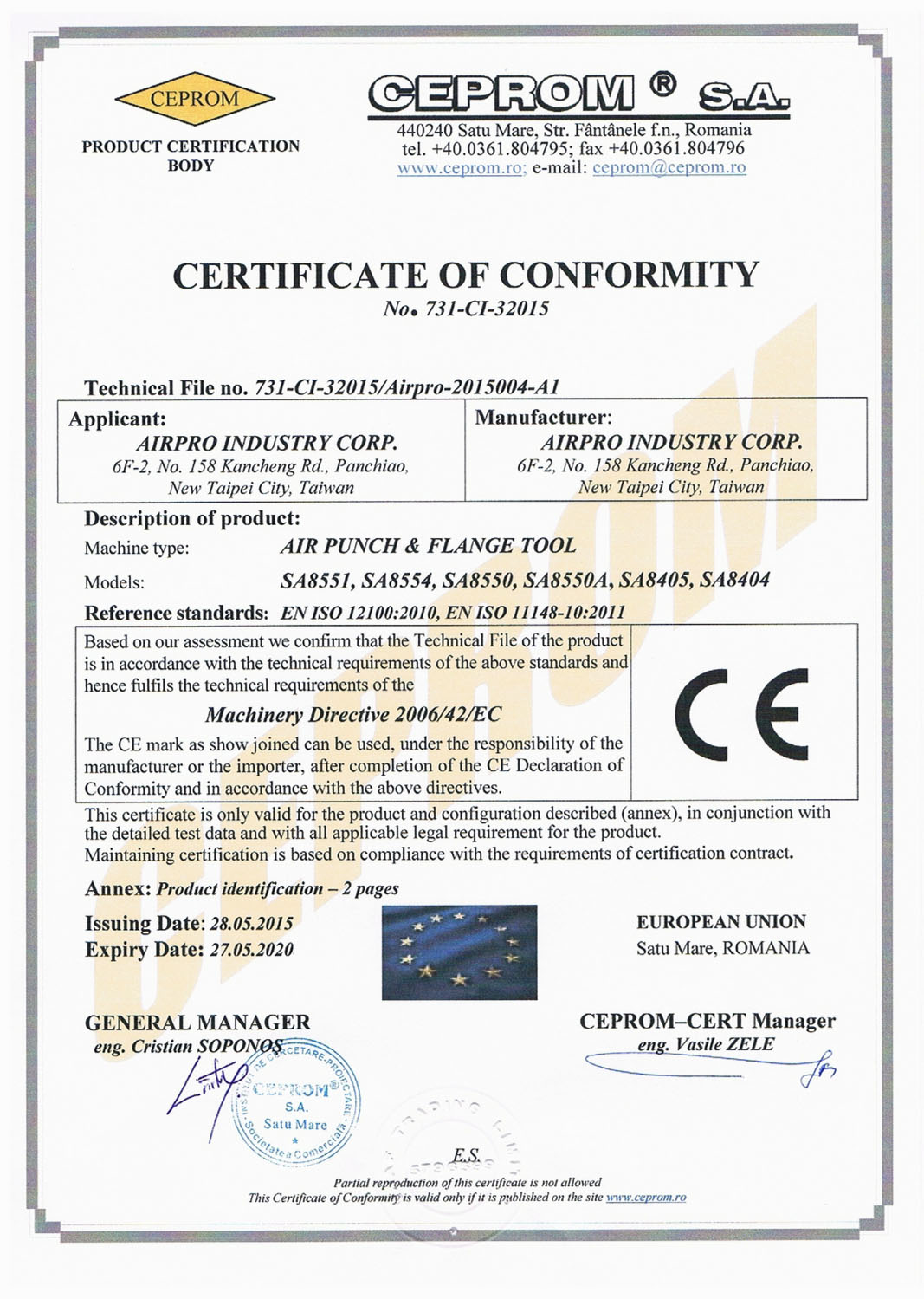 CERTIFICATE OF CONFORMITY-AIR PUNCH & FLANGE TOOL
