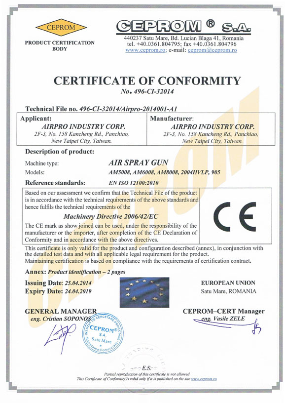 CERTIFICATE OF CONFORMITY-AIR SPRAY GUN