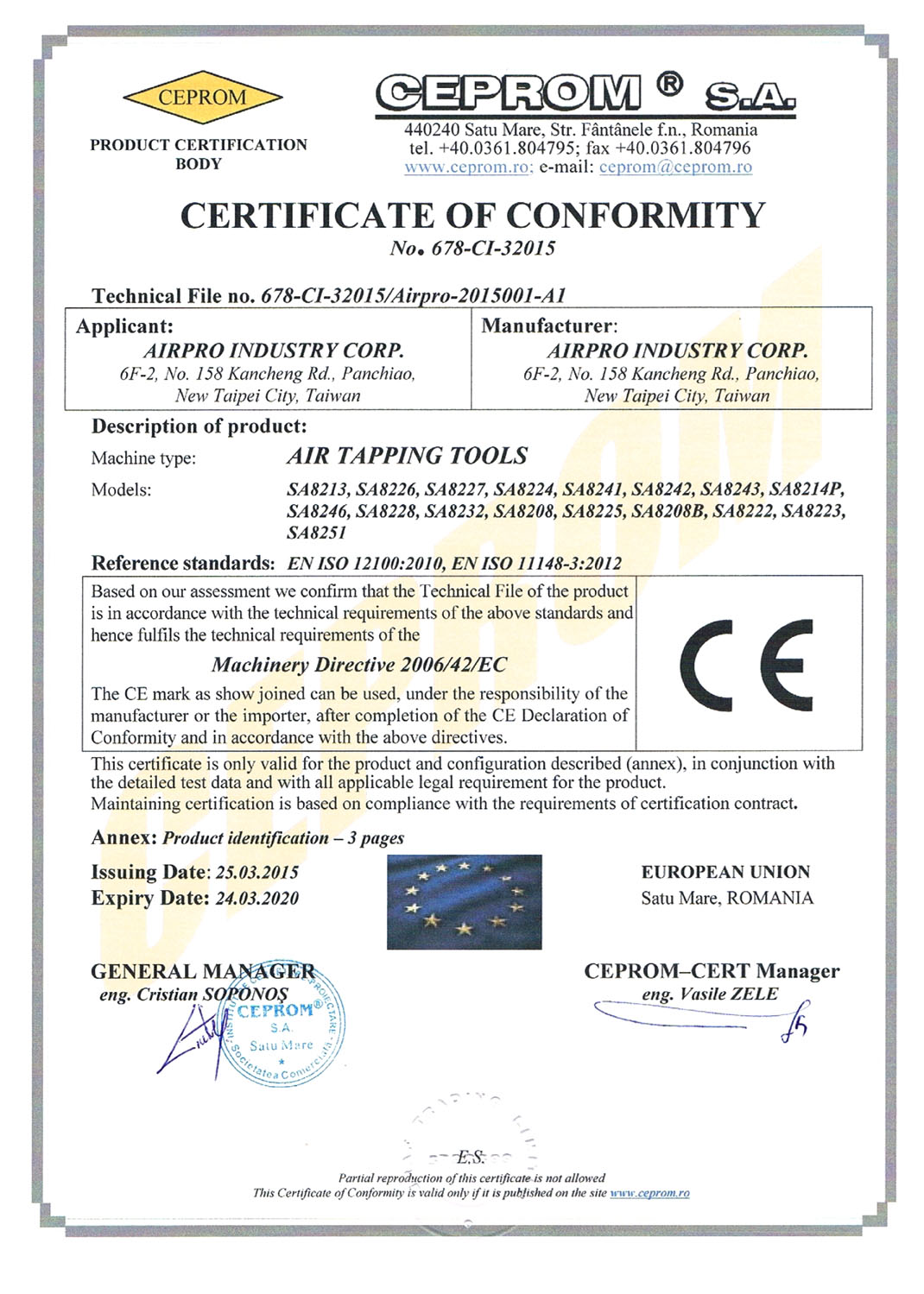 CERTIFICATE OF CONFORMITY-AIR TAPPING TOOLS